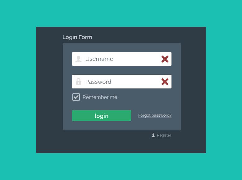 Flat Login Form PSD - Aktiv mit Fehler bei Validierung