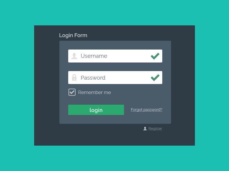 Flat Login Form PSD - Aktiv mit fehlerfreier Validierung